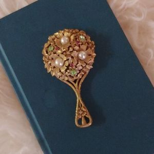 Vintage 50s jeweled mini hand mirror